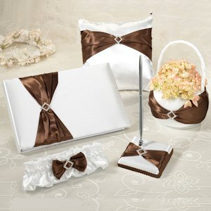 Brown Bow Wedding Accessory Set image