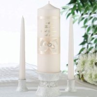 Scattered Pearl Ivory Unity Candle Set
