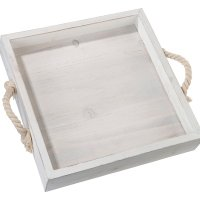 Square Wood Wedding Tray with Rope Handles