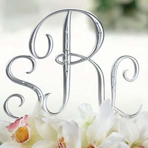 Silver Monogram Wedding Cake Topper Letters image