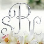 Silver Monogram Wedding Cake Topper Letters