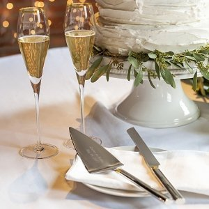 personalized wedding cake servers personalized gold champagne flutes amp cake serving set 6482