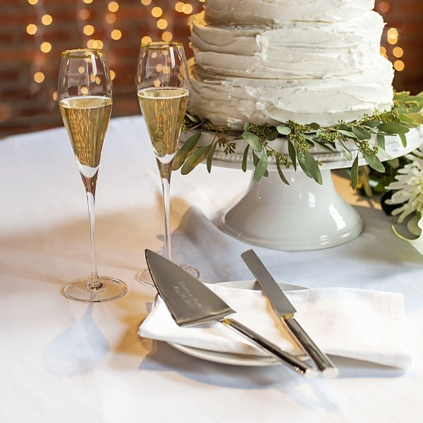 Personalized Gold Champagne Flutes Cake Serving Set