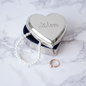 Love Silver Heart Keepsake Box image
