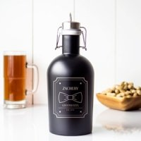 Personalized Groomsman Black Stainless Steel Growler
