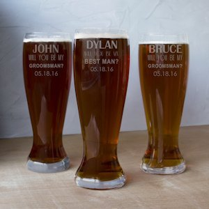 Personalized Will You Be My Groomsman XL Beer Pilsner Glass image