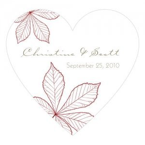 Autumn Leaf Heart Sticker (12 Colors) image