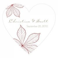 Autumn Leaf Heart Sticker (12 Colors)