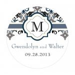 Personalized Lavish Monogram Round Stickers