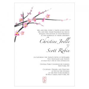 Cherry Blossom Wedding Invitations (Set of 4) image
