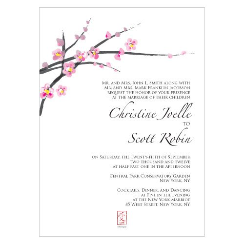 cherry blossom wedding invitations (set of 4), Wedding invitations