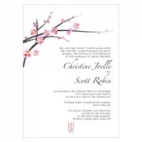 Cherry Blossom Wedding Invitations (Set of 4)