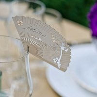 Cherry Blossom Fan Die Cut Place Card