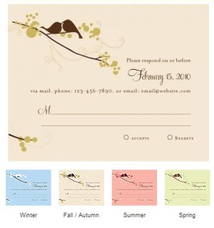 Love Birds RSVP Cards (Set of 8 - 4 Colors) image