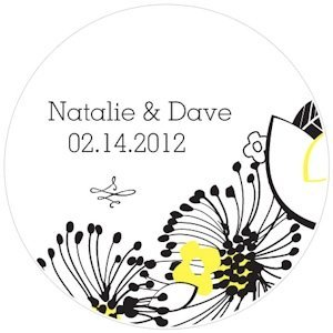 Floral Fusion Personalized Wedding Sticker Labels (5 Colors) image