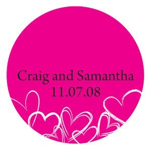 Personalized Contempo Hearts Round Stickers image
