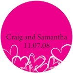 Personalized Contempo Hearts Round Stickers