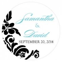Custom Love Bird Damask Small Round Stickers