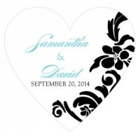 Love Bird Damask Heart Stickers (18 Colors)