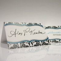 Damask Wedding Place Cards (Set of 6)