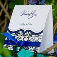 Love Bird Damask Thank You Cards (Set of 6)