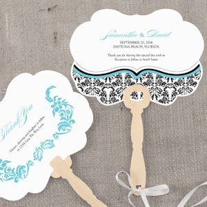 Love Bird Damask Personalized Hand Fan image