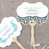Love Bird Damask Personalized Hand Fan