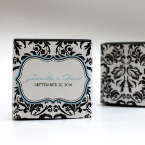 Love Bird Damask Favor Box Wrap (Set of 20) image