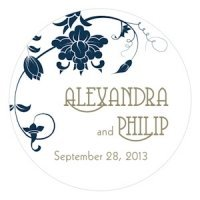 Floral Orchestra Wedding Stickers for Favors