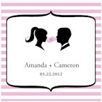 Sweet Silhouettes Square Favor Tag (Set of 20 - 10 Colors)