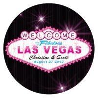 Personalized Las Vegas Round Stickers (2 Sizes - 3 Colors)