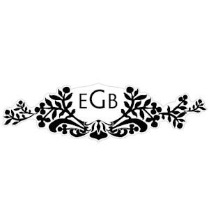 Monogram Black and White Damask Sticker image