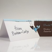 Heart Strings Tented Place Cards (Set of 6 - 3 Colors)