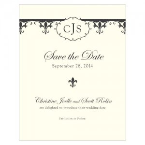Fleur De Lis Save the Date Cards (7 Colors) image