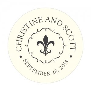 Personalized Fleur De Lis Round Stickers (7 Colors) image