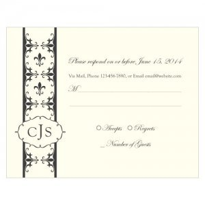 Fleur De Lis RSVP Cards (Set of 8 - 7 Colors) image