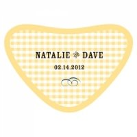 Personalized Plaid Heart Container Sticker (2 Colors)