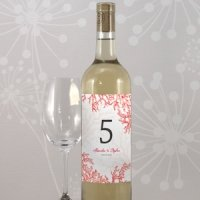 Reef Coral Table Number Wine Bottle Labels (8 Colors)