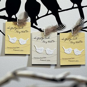 Love Birds Personalized Wedding Seed Favor Card (Sets of 12) image