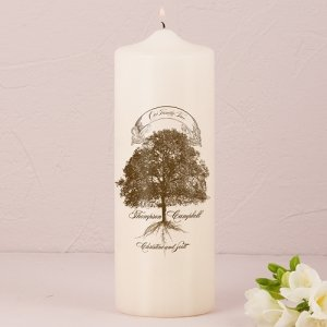 Family Oak Tree Custom Unity Candle (White or Ivory) image