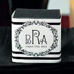 Monogram Cube Favor Box Wrap Labels - Set of 10