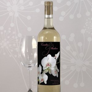 Classic Orchid Custom Wine Labels for Weddings image