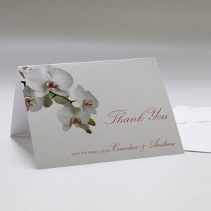 Classic Orchid Wedding Thank You Cards (Set of 6) image
