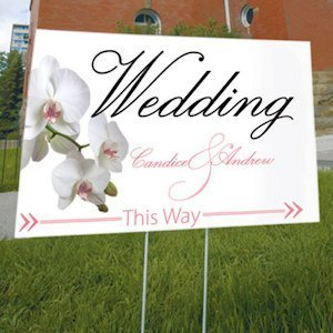 Classic Orchid Wedding Directional Sign (4 Colors) image