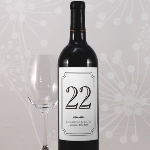 Personalized Wine Bottle Table Number Labels (Many Colors) image