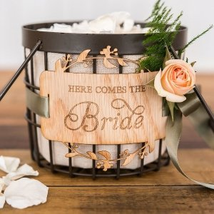 Here Comes the Bride Wood Veneer Flower Girl Basket Sign image