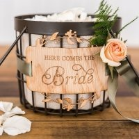 Here Comes the Bride Wood Veneer Flower Girl Basket Sign