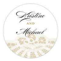 Personalized Vintage Lace Small Sticker (7 Colors)