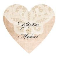 Vintage Lace Personalized Heart Sticker (7 Colors)