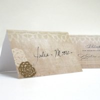 Vintage Lace Personalized Folded Place Cards